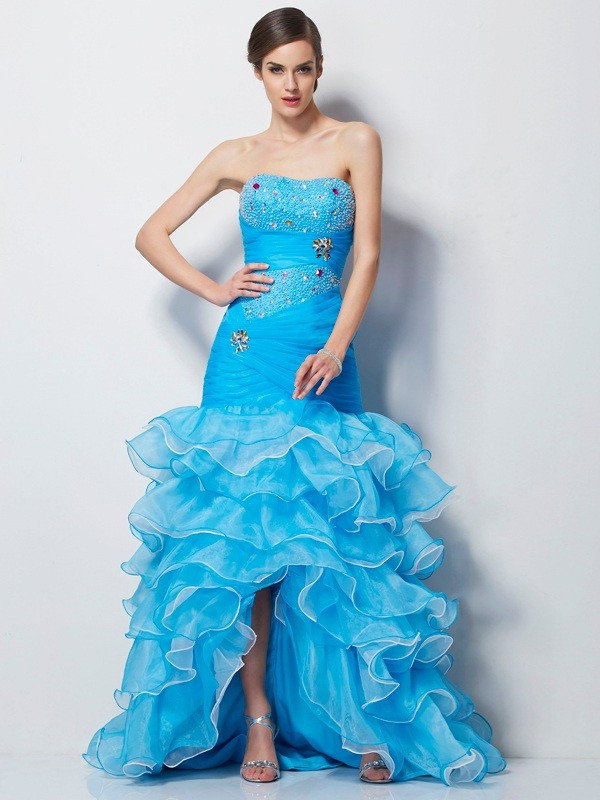 Trumpet/Mermaid Sweetheart Sleeveless Beading High Low Tulle Dresses