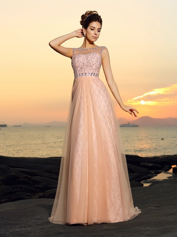 A-Line/Princess Bateau Lace Sleeveless Long Chiffon Dresses