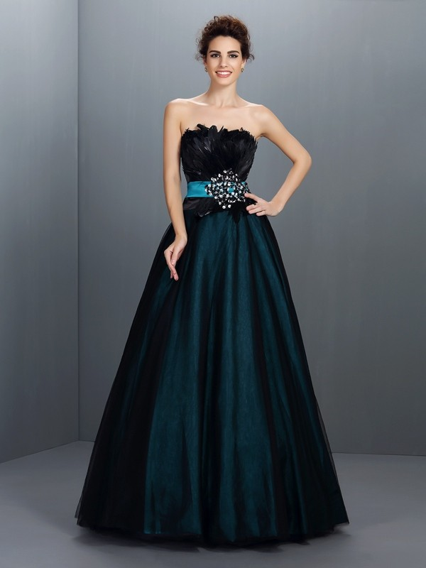 Ball Gown Strapless Feathers/Fur Sleeveless Long Elastic Woven Satin Quinceanera Dresses