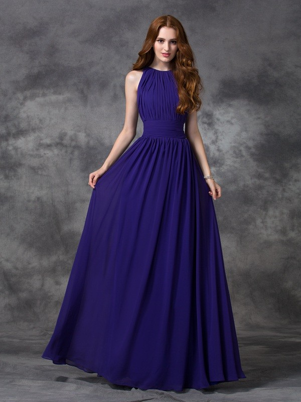 A-line/Princess Jewel Ruched Sleeveless Long Chiffon Bridesmaid Dresses