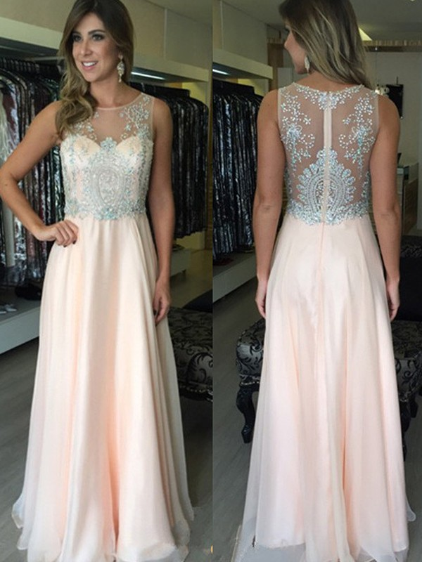 A-Line/Princess Scoop Sleeveless Beading Floor-Length Chiffon Dresses