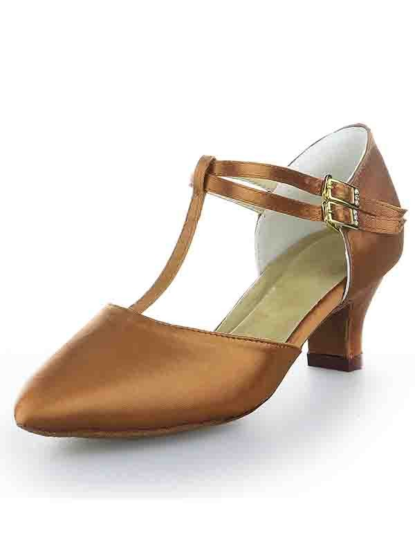 Women's T-Strap Satin Closed Toe Kitten Heel With Buckle High Heels