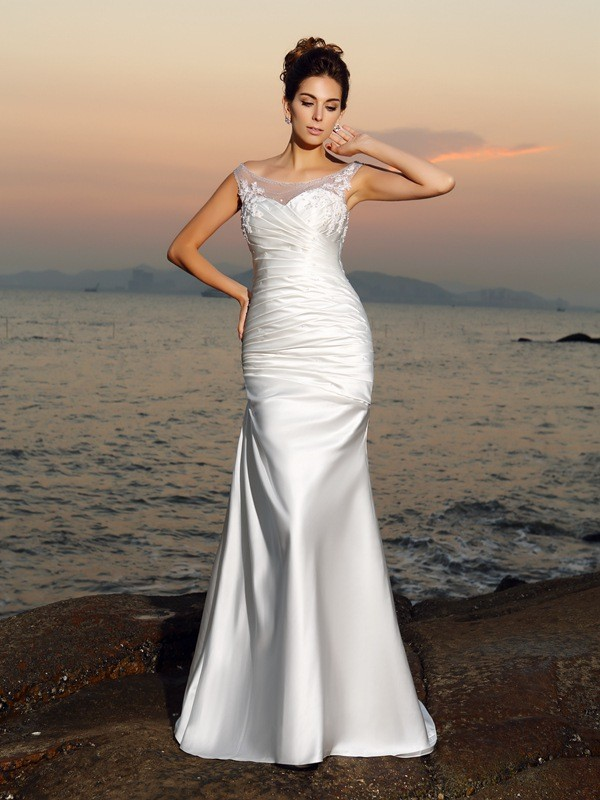 853ce63f6d62 Trumpet/Mermaid Scoop Beading Sleeveless Long Satin Beach Wedding Dresses