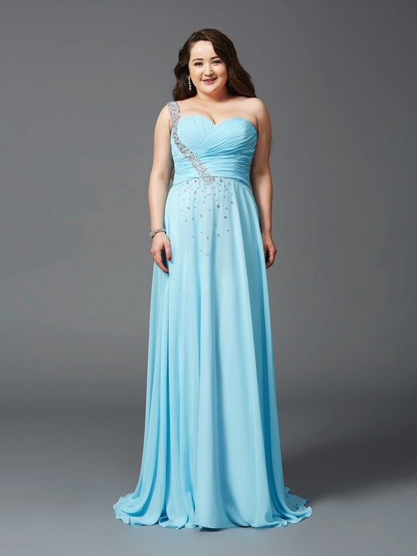 14ee61476d62 A-Line/Princess One-Shoulder Rhinestone Sleeveless Long Chiffon Plus Size  Dresses