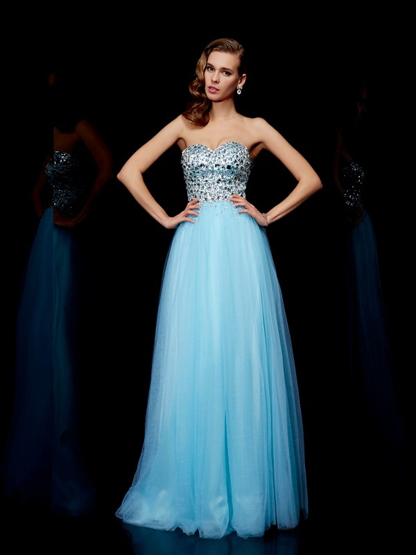 Ball Gown Sweetheart Sleeveless Beading Long Tulle Dresses