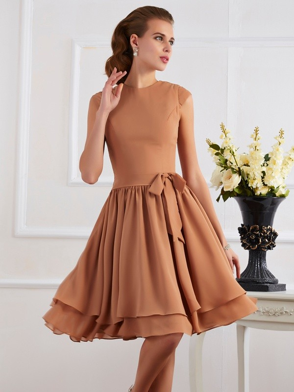 Sheath/Column High Neck Sleeveless Sash/Ribbon/Belt Short Chiffon Bridesmaid Dresses