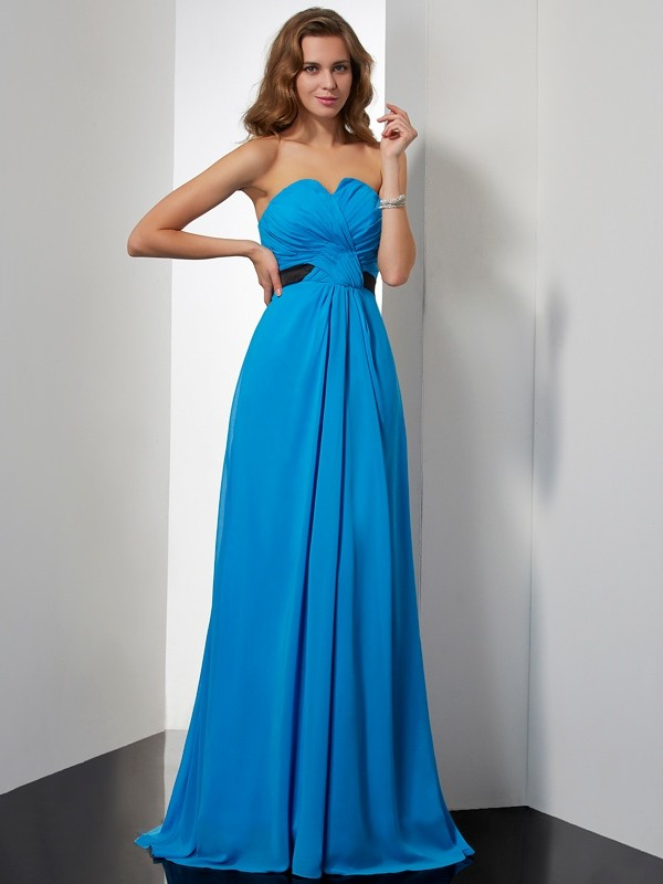 A-Line/Princess Sweetheart Sleeveless Sash/Ribbon/Belt Long Chiffon Dresses