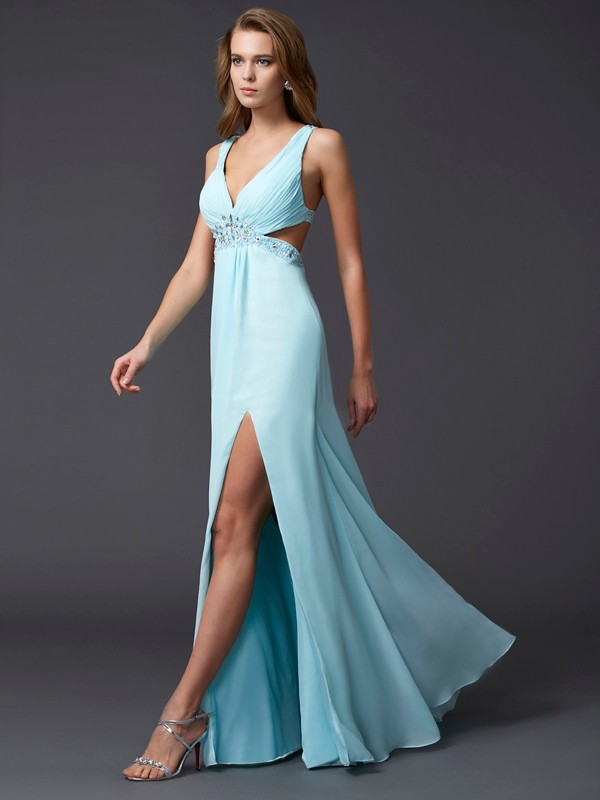 Sheath/Column V-neck Sleeveless Beading Long Chiffon Dresses