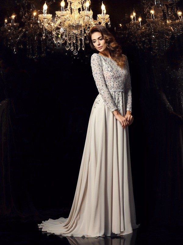 A-Line/Princess Scoop Beading Long Sleeves Long Chiffon Dresses