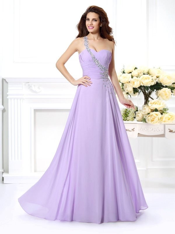 A-Line/Princess One-Shoulder Beading Sleeveless Long Chiffon Dresses