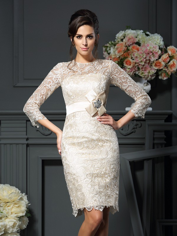 Sheath/Column Scoop Bowknot 3/4 Sleeves Short Lace Mother of the Bride Dresses