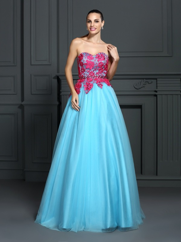 Ball Gown Sweetheart Lace Sleeveless Long Satin Quinceanera Dresses