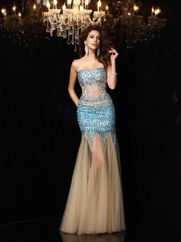 Sheath/Column Sweetheart Beading Sleeveless Long Net Dresses