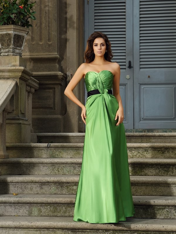A-Line/Princess Sweetheart Sleeveless Long Silk like Satin Bridesmaid Dresses