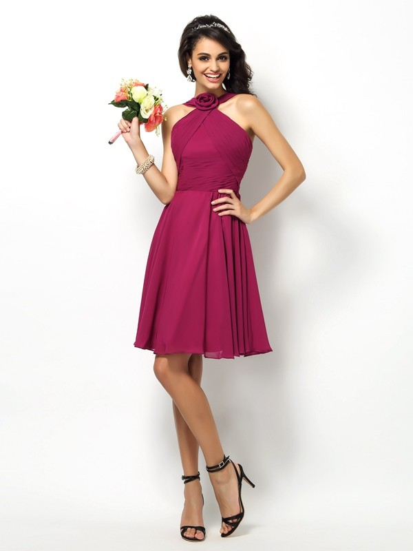 A-Line/Princess High Neck Pleats Sleeveless Short Chiffon Bridesmaid Dresses