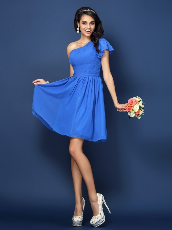 A-Line/Princess One-Shoulder Pleats Sleeveless Short Chiffon Bridesmaid Dresses