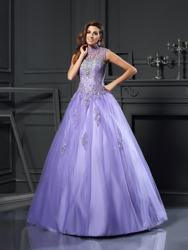 Ball Gown High Neck Beading Sleeveless Long Net Quinceanera Dresses