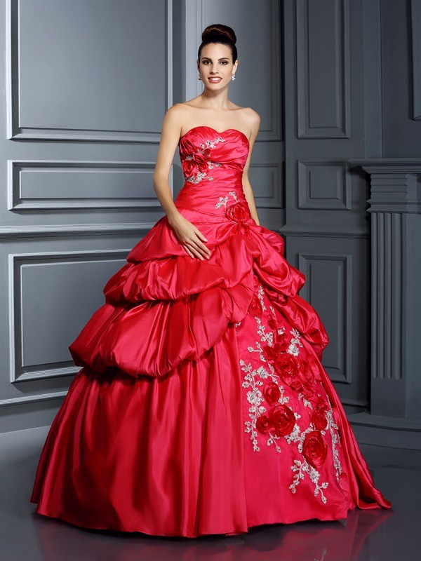 Ball Gown Sweetheart Hand-Made Flower Sleeveless Long Taffeta Quinceanera Dresses