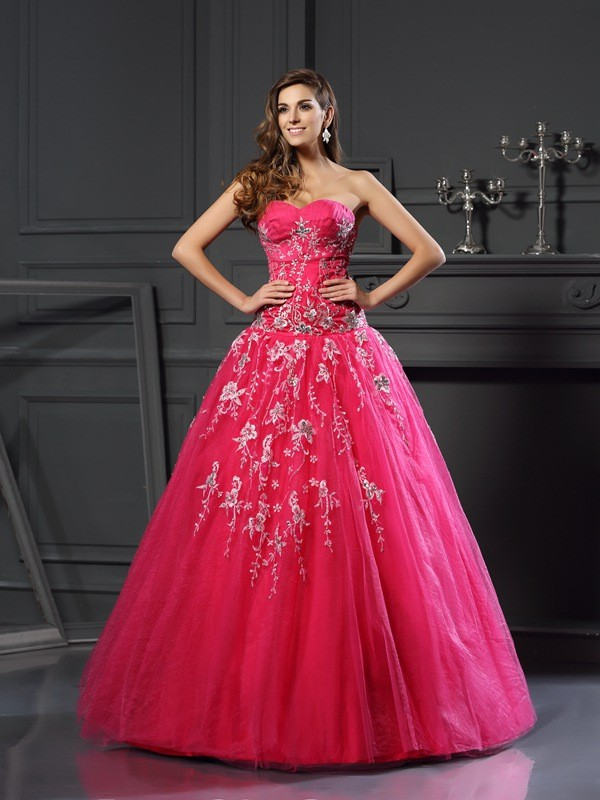 Ball Gown Sweetheart Applique Sleeveless Long Net Quinceanera Dresses
