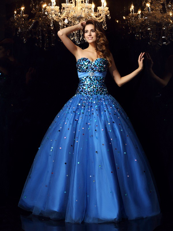 f25e90deaa29 Ball Gown Sweetheart Beading Sleeveless Long Satin Quinceanera Dresses ...
