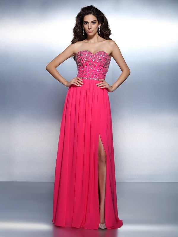A-Line/Princess Sweetheart Beading Sleeveless Long Chiffon Dresses