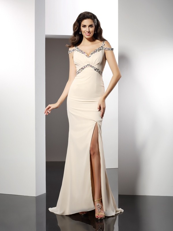 Trumpet/Mermaid Sweetheart Sleeveless Long Chiffon Dresses
