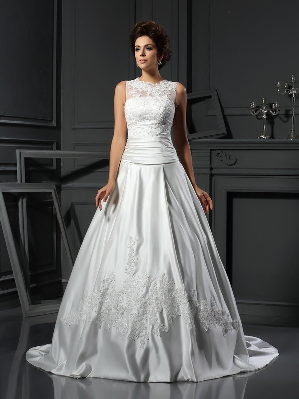 A-Line/Princess High Neck Applique Sleeveless Long Satin Wedding Dresses