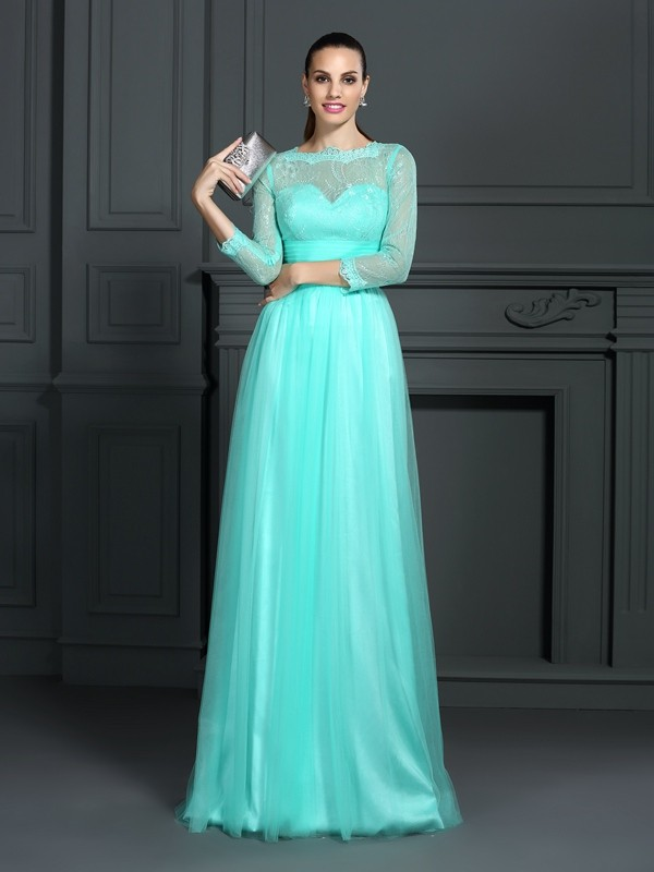 A-Line/Princess Bateau Lace 3/4 Sleeves Long Elastic Woven Satin Dresses