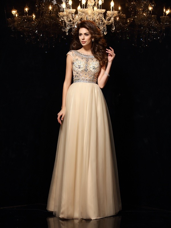 A-Line/Princess Scoop Beading Sleeveless Long Net Dresses