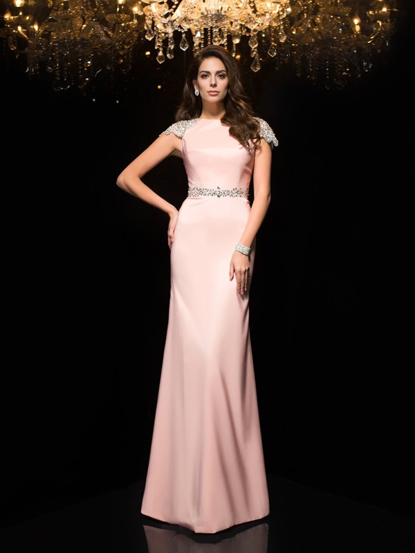 Sheath/Column Jewel Beading Short Sleeves Long Satin Dresses