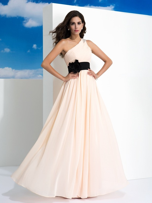 A-Line/Princess One-Shoulder Sash/Ribbon/Belt Sleeveless Long Chiffon Dresses