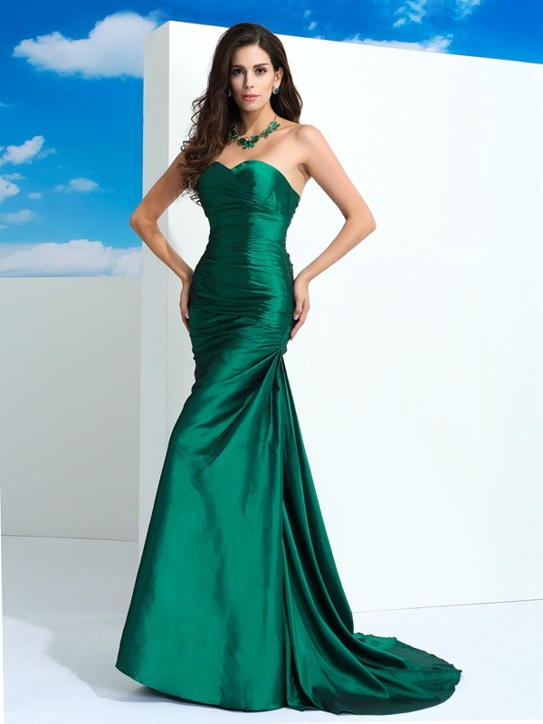 Sheath/Column Sweetheart Pleats Sleeveless Long Taffeta Dresses