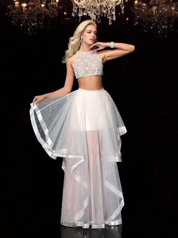 A-Line/Princess Scoop Applique Sleeveless Long Tulle Two Piece Dresses