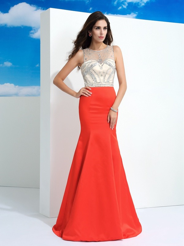 Trumpet/Mermaid Sheer Neck Beading Sleeveless Long Satin Dresses
