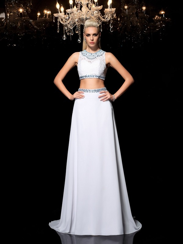 A-Line/Princess Jewel Beading Sleeveless Long Chiffon Two Piece Dresses
