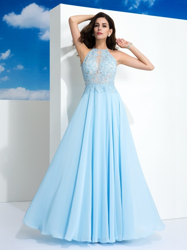 A-Line/Princess Spaghetti Straps Applique Sleeveless Long Chiffon Dresses