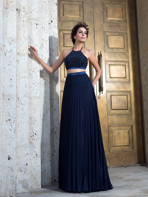 A-Line/Princess Spaghetti Straps Pleats Sleeveless Long Chiffon Two Piece Dresses