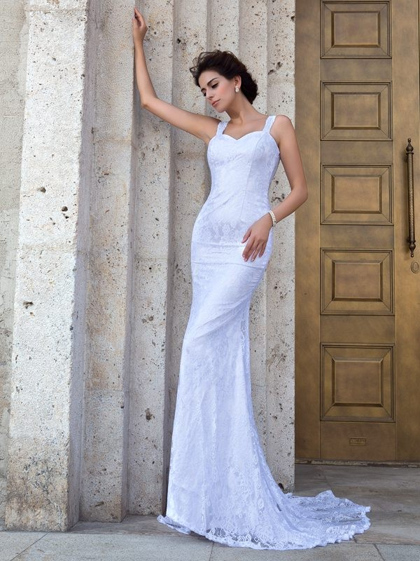 Sheath/Column Straps Lace Sleeveless Long Lace Wedding Dresses