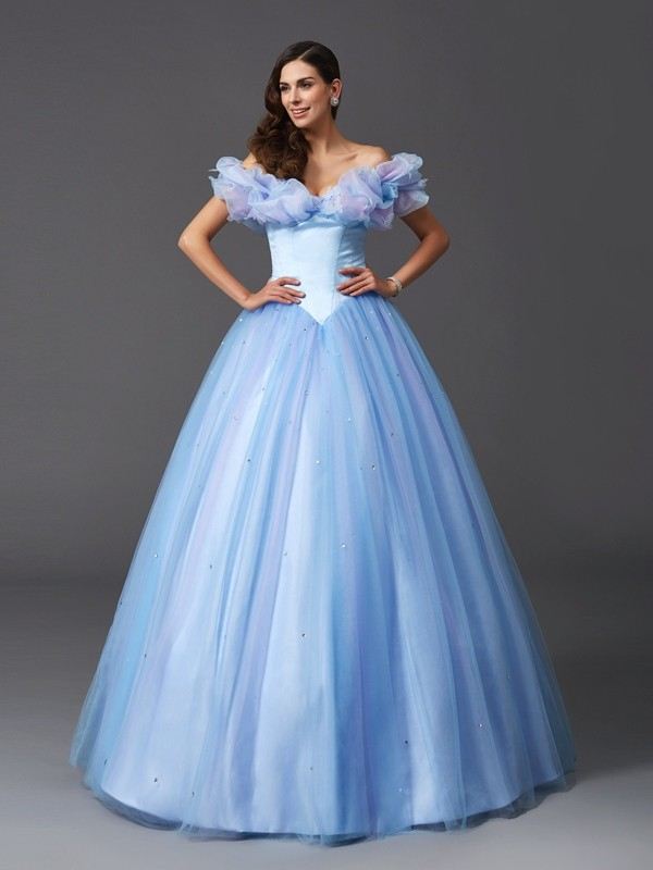 Ball Gown Off-the-Shoulder Beading Sleeveless Long Net Quinceanera Dresses