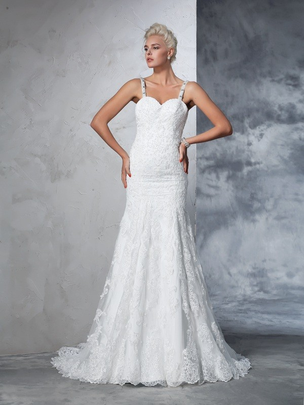 Trumpet/Mermaid Spaghetti Straps Lace Sleeveless Long Lace Wedding Dresses