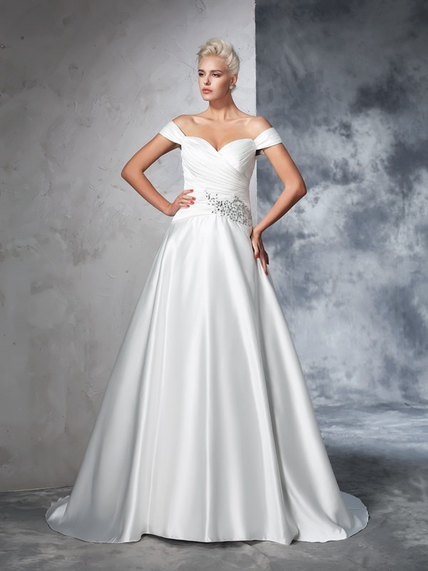 Ball Gown Off-the-Shoulder Ruched Sleeveless Long Taffeta Wedding Dresses