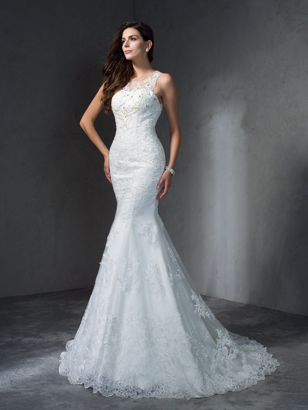 Trumpet/Mermaid Scoop Applique Sleeveless Long Lace Wedding Dresses