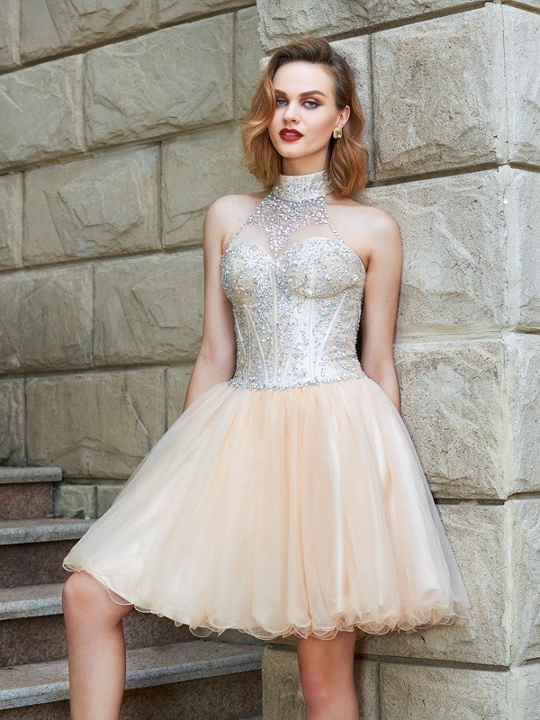 A-Line/Princess Halter Sleeveless Beading Net Short/Mini Dresses