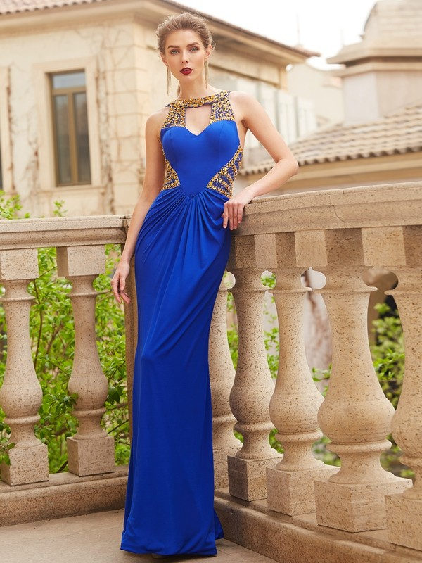 Sheath/Column Scoop Sleeveless Floor-Length Beading Spandex Dresses