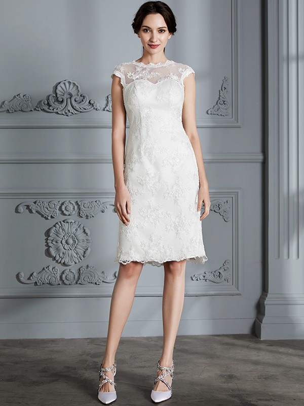 A-Line Sleeveless Scoop Knee-Length Lace Satin Wedding Dresses