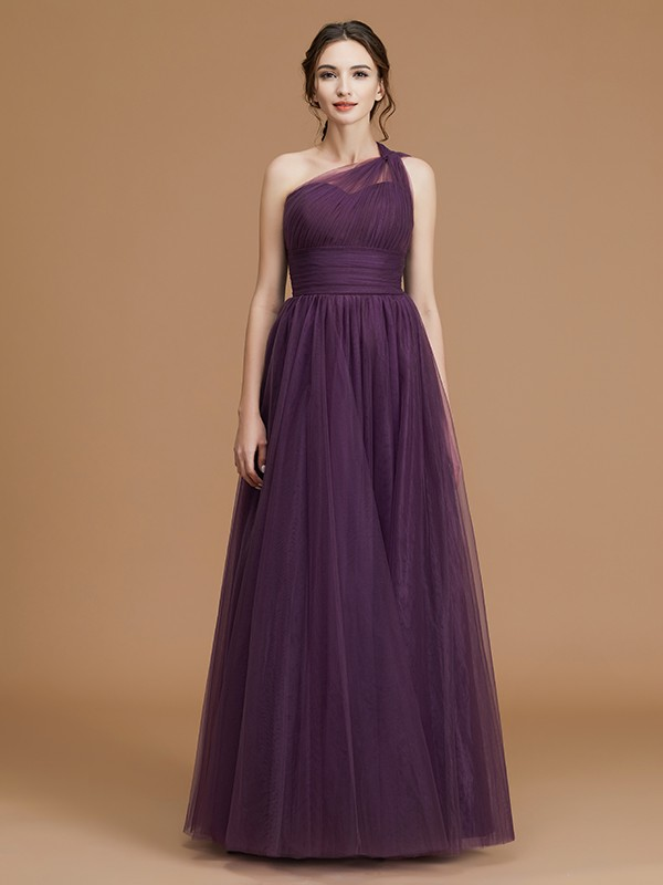 A-Line One-Shoulder Sleeveless Floor-Length Tulle Bridesmaid Dress