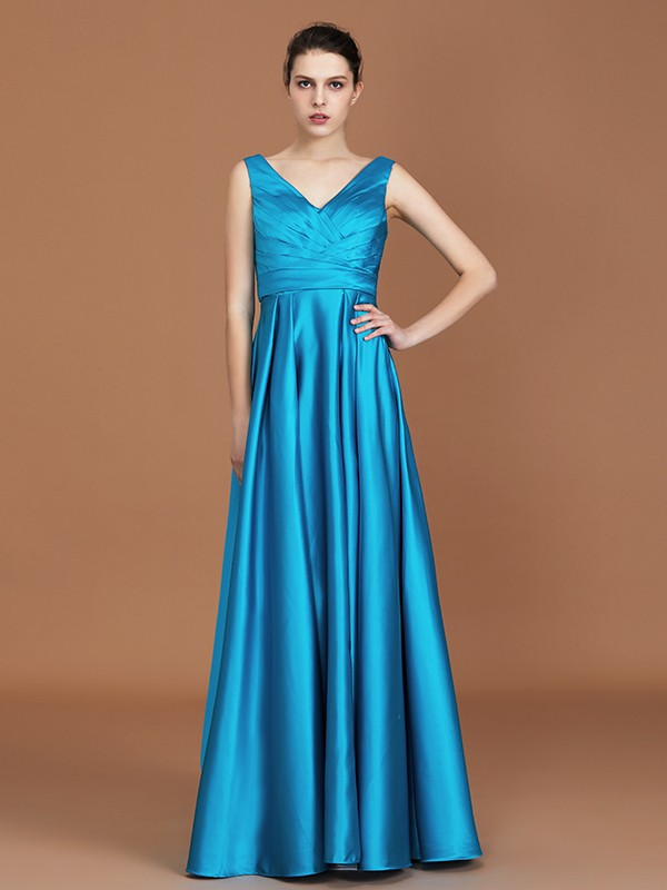 A-Line V-neck Sleeveless Floor-Length Satin Bridesmaid Dress