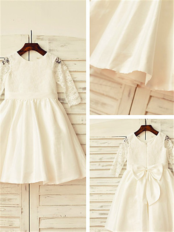 A-line Jewel Long Sleeves Lace Tea-Length Satin Flower Girl Dress