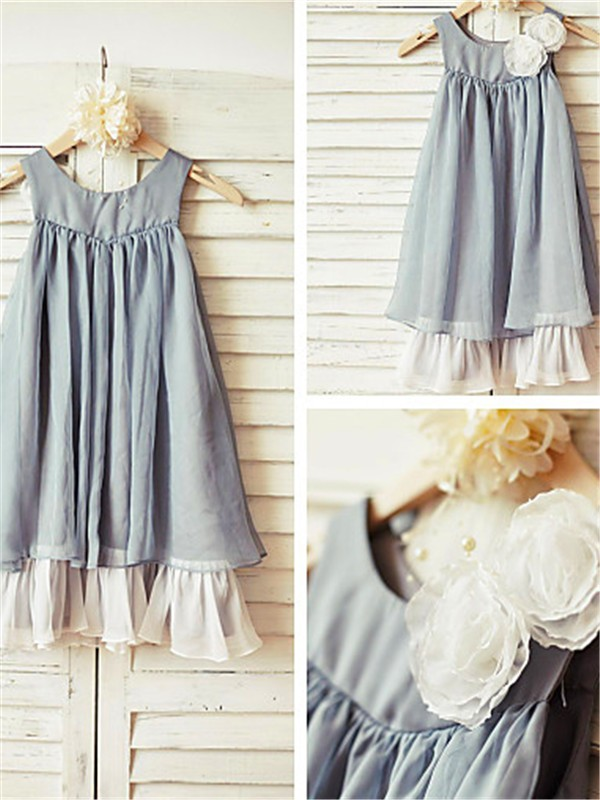 A-line Scoop Sleeveless Tea-length Chiffon Flower Girl Dress