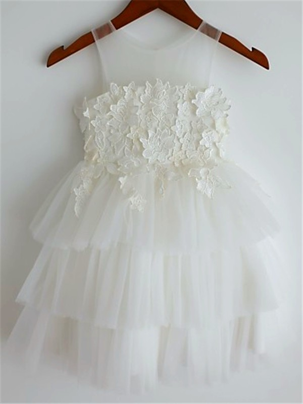 A-line Straps Sleeveless Lace Tea-Length Tulle Flower Girl Dress